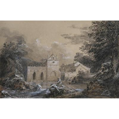 """""""landscape And Fishermen"""" Paul Gregoire, Drawing Late 18th Century, Lavis Gray"""