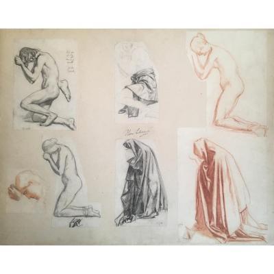 """""""Femme agenouillée:Sept études/même montage"""" LEHMANN Henri, Dessin/crayon noir, sanguine,Cachet"""