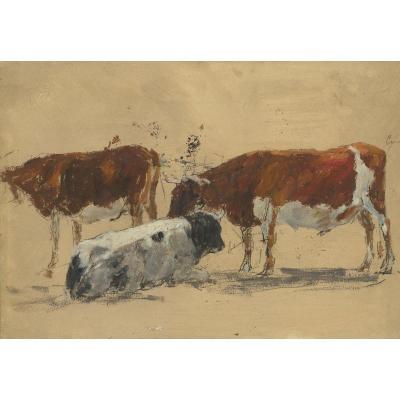 """""""Etude de vaches"""" BOUDIN Eugène attribué à, Dessin/Huile sur papier sur traits de crayon noir"""