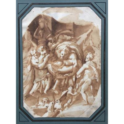 """ECOLE ITALIENNE 16E SIECLE """"Le Triomphe de Silène"""" Dessin, Plume et lavis brun"""