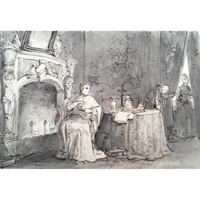 "Granet François Marius ""a Prelate In His Interior"" Drawing"