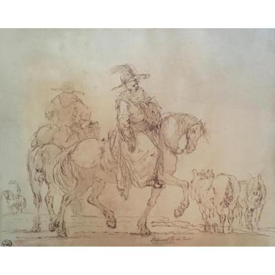 """Palmieri Pietro """"horsemen And Horses"""" Drawing, Pen And Brown Wash"""