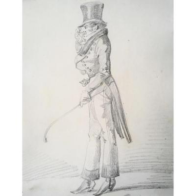 """""""vernet Carle"""" Dandy With A Hat """"drawing In Black Pencil"""