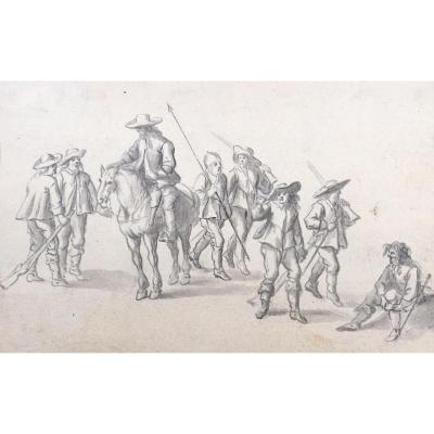 """ECOLE DU NORD FIN 17e """"Cavalier et militaires"""" Dessin au lavis gris"""