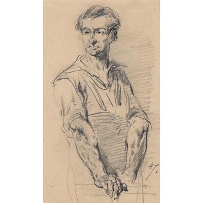 """ANDRIEUX Clement-Auguste """"Portrait d'homme"""" Dessin au crayon noir"""
