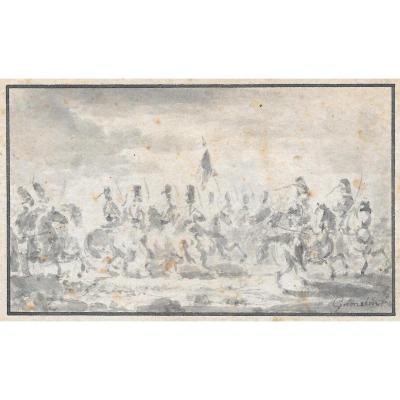 """GAMELIN Jacques """"Scène de cavalerie"""" Dessin, Lavis gris, signé"""