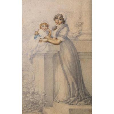 """Cosway Richard, English School """"princess Caroline Of Wales And Her Daughter"""" Drawing,watercolor"""