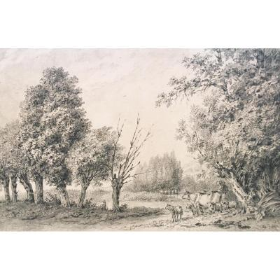 """Huet Jean-baptiste, Attributed To, """"animated Landscape"""" Drawing, Black Chalk"""