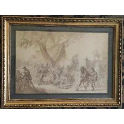 """Vernet Carle """"battle Scene"""" Brown Wash Drawing, Frame From 19th Century"""