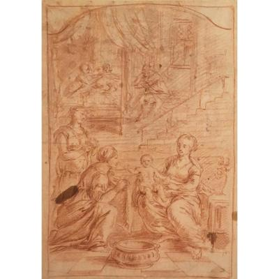 """Parrocel Jean-françois Attributed To, """"religious Scene"""" Drawing With Red Chalk"""