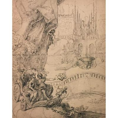 "French School Late 17th Century ""mythological Scene"" Drawing/pen, On Its Mount Of Origin"