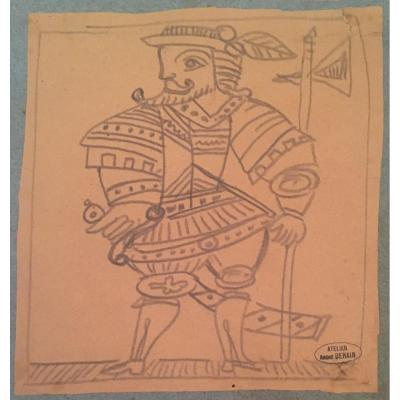 """Derain André """"hallebardier"""" Drawing In Black Pencil Signed"""