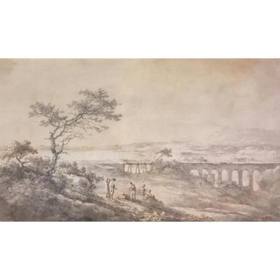 "Chatelet Claude-louis ""animated Landscape"" Drawing/pen And Grey Wash"