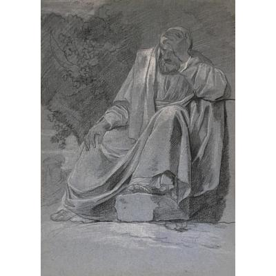 "Taillasson Jean-joseph Attributed To ""draped Man"" Drawing / Black Chalk, White Chalk"