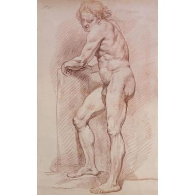 "Lepicie Nicolas Bernard Attributed To ""academy Of Man"" Drawing With Red Chalk"