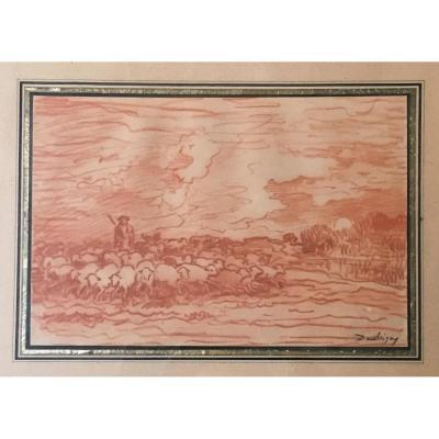 """DAUBIGNY Charles François """"Paysage berger et moutons"""" Dessin au crayon sanguine,Signé,Cadre/19e"""