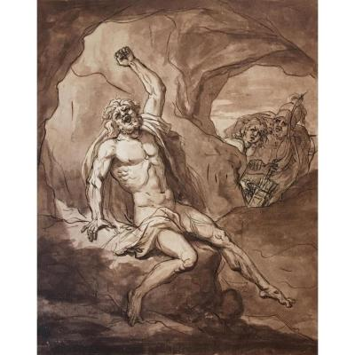 "Gibelin Esprit Antoine, Attributed To ""mythological Subject"" Drawing/pen And Brown Wash"