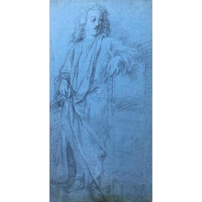 "French School Early 18th ""draped Character"" Drawing, Black Chalk And White Chalk / Blue Paper"