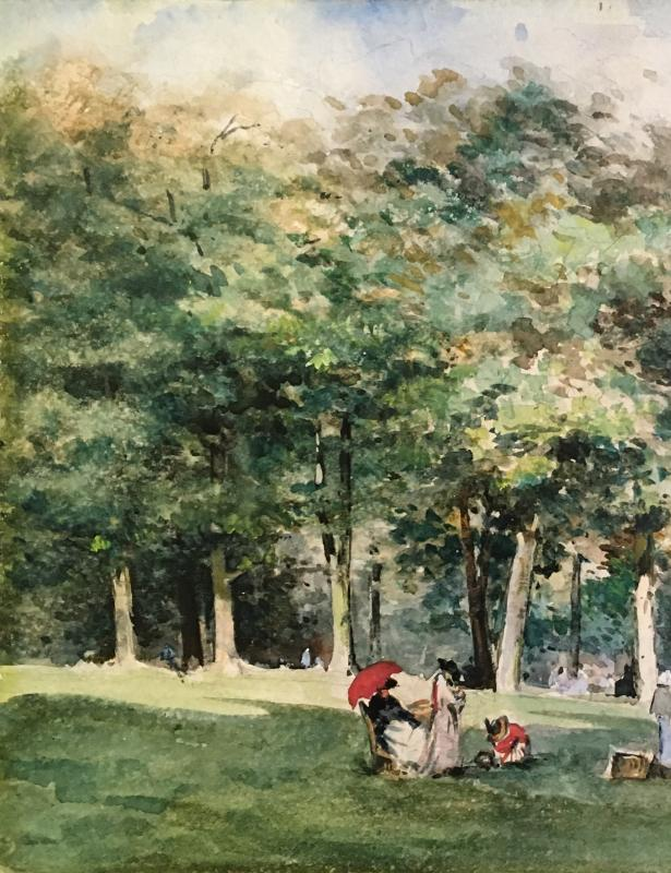 """MORNARD Louise Valentine de, """"Scène de parc"""" Dessin, Crayon noir et aquarelle, signé-photo-2"""