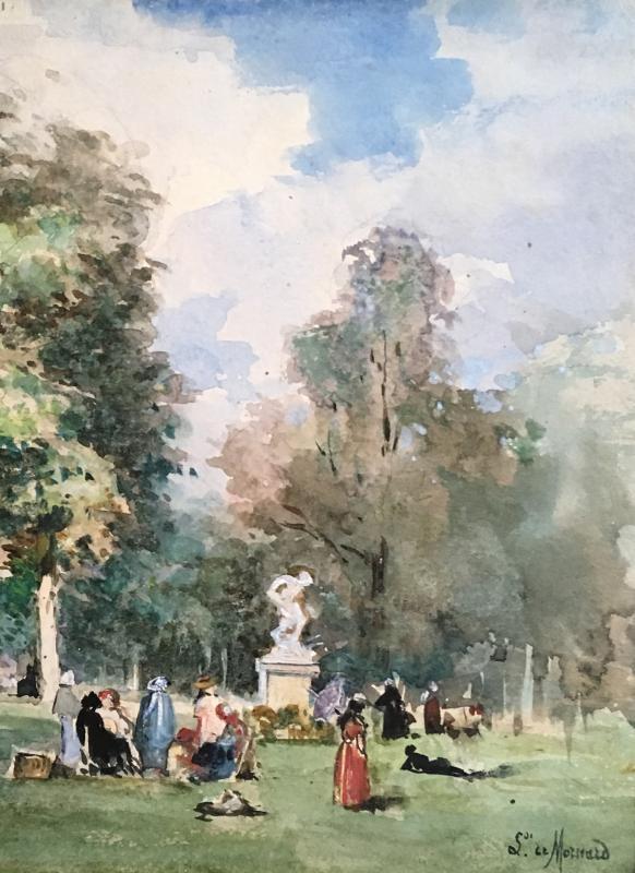 """MORNARD Louise Valentine de, """"Scène de parc"""" Dessin, Crayon noir et aquarelle, signé-photo-3"""