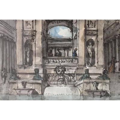 """NICOLLE Jean-Victor """"Caprices architecturaux"""" Deux aquarelles en pendant, Cadres fin 18e"""