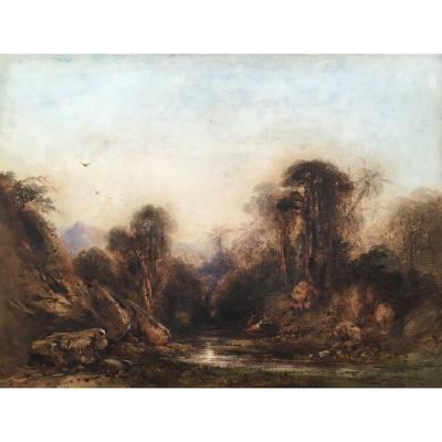 """CALAME Alexandre """"Paysage animé à la rivière"""" Aquarelle, signé"""