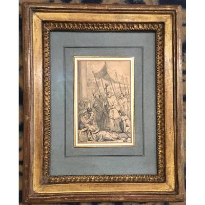 "David Jacques-louis ""procession Of A Bishop"" Drawing / Pen And Gray Wash, Signed, Frame Late 18th"