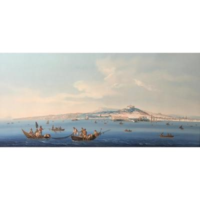 "Italian School Circa 1840 ""view Of Napoli"" Gouache, Frame 19th"