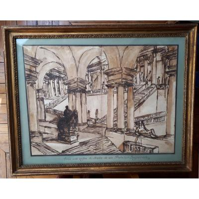"Challe Charles Michel Ange ""interior Of A Palace"" Drawing With Pen And Ink Wash"