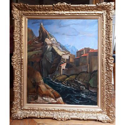 """Henry de WAROQUIER """"Paysage d'Espagne"""" Huile sur toile, signé, daté, Cadre"""