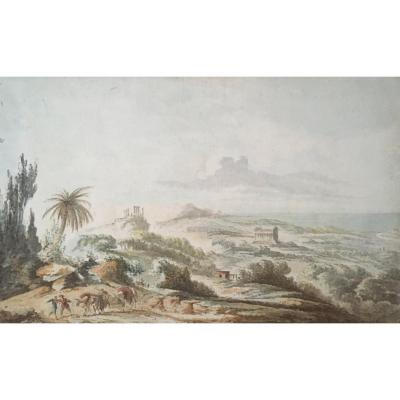 "Chatelet Claude-louis (1753-1795) ""la Campagne d'Agrigente"" Drawing/pen And Watercolor, Signed, Provenance"