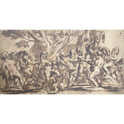"""BEINASCHI Giovanni Battista (1636-1688) """"Angelots"""" Dessin/Plume et lavis brun"""