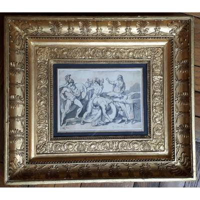 "David Jacques Louis (1748-1825) ""mythological Subject"" Drawing / Pen, Gray Wash, Provenance, Frame"