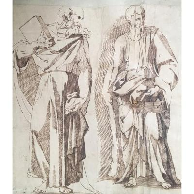 """ECOLE ITALIENNE Florence 16e siècle Dessin """"Deux prophètes"""" Plume, Lavis brun, Provenance"""
