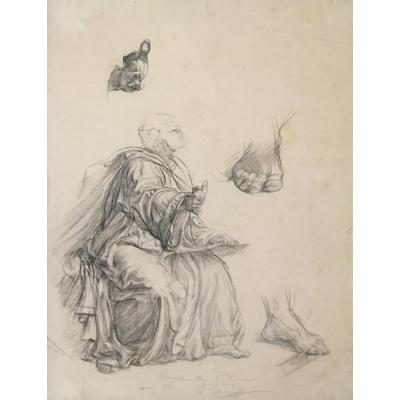 """Janmot Louis (1814-1892) """"draped Man, Study Of Hand And Feet"""" Drawing/black Pencil, Signed"""