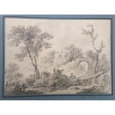 "Pillement Jean (1728-1808) ""animated Landscape"" Drawing/black Chalk, Signed"