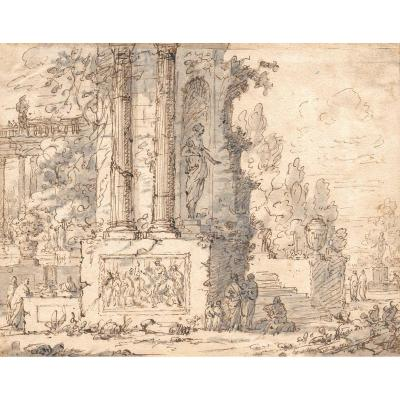 "Italian School Early 18th Century ""animated Landscape"" Drawing / Pen And Gray Wash"