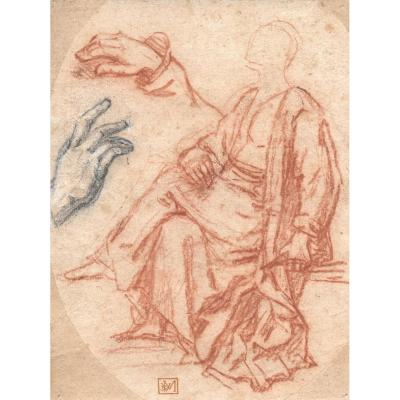 "Italian School 17th ""draped Figure & Study Of Hands"" Drawing / Red Chalk, Black Stone, Provenance"