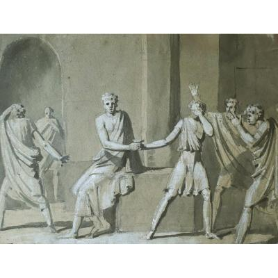 "French School Late 18th ""mythological Scene"" Drawing With Gray Wash And White Gouache"