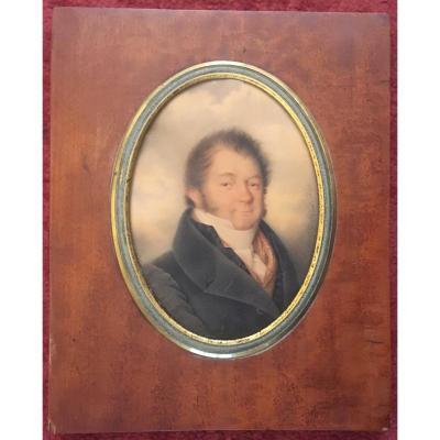 """ECOLE FRANÇAISE, 1834 """"Portrait d'homme"""" Miniature sur vélin, Gouache, signé, Cadre 19e"""