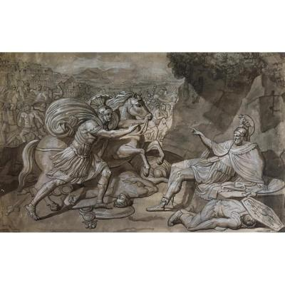 """ECOLE ITALIENNE FIN 18E """"Sujet mythologique"""" Dessin/Plume, lavis gris et gouache blanche"""