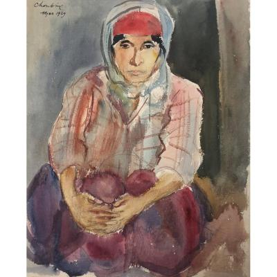 """Choubine Serge (1900-1931) Russian School """"an Oriental"""" Drawing/watercolor And Black Pencil, Signed"""