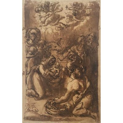 """Lilio Andréa (1555-1642) Attributed To, """"adoration Of The Shepherds"""" Drawing/pen And Brown Wash"""