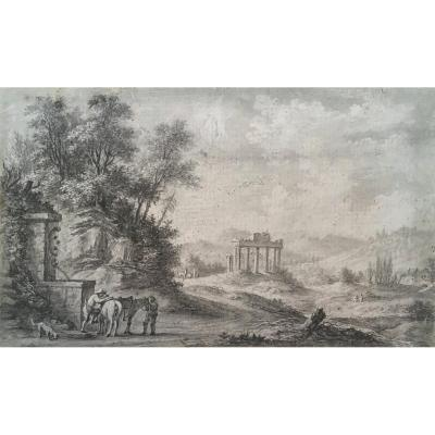 """Desfriches Thomas Aignan (1715-1800) """"landscape And Riders"""" Drawing / Black Chalk And Scraping"""