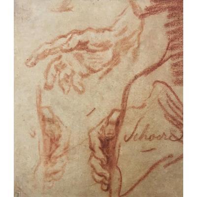 """VAN DER SCHOOR Abraham, Ecole Flamande 17e """"Etude de mains"""" Dessin au crayon sanguine, Signé"""