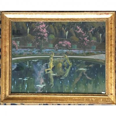"Marliave François De (1874-1953) ""view Of A Pond In A Park"" Drawing / Gouache, Signed, Frame 20th"