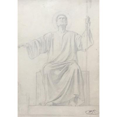"Flandrin Hippolyte (1809-1864) ""a Seated Saint"" Drawing/black Pencil, Signed/signature Stamp"