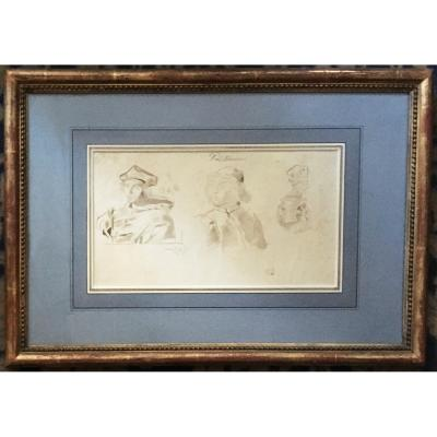 "Delacroix Eugène (1798-1863) ""study Of Heads (ange Politien)"" Drawing / Pen, Brown Wash, Stamp"