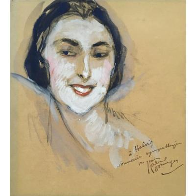 "Domergue Jean-gabriel (1889-1962) ""head Of An Elegant"" Watercolor, Signed"