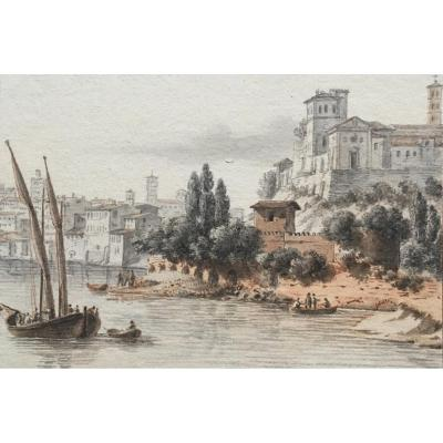 "Nicolle Victor Jean (1754-1826) ""priory Of Malta In Rome"" Drawing / Pen, Watercolor"